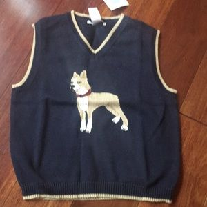 Janie and jack navy sweater vest with dog design